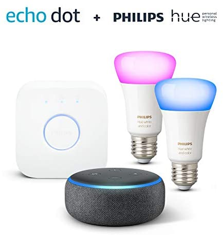 Echo Dot 3 Generation Anthrazit Stoff Philips Hue Color