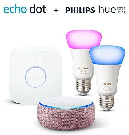 Echo Dot 3 Generation Lila Stoff Philips Hue Color