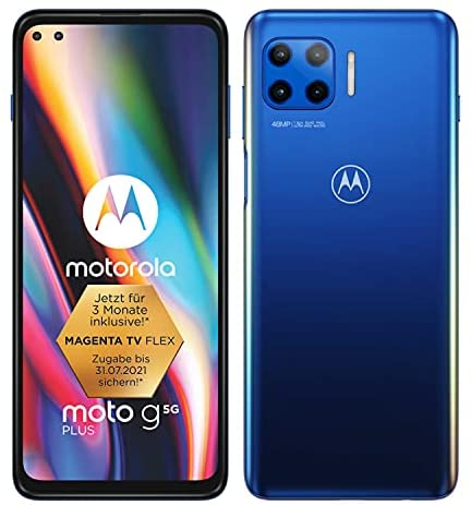 "MOTOROLA moto g 5G plus (6,7""-Display, 48-MP-Kamera, 6/128 GB, 5000 mAh, Dual-SIM, Android 10) Blau, inkl. Schutzcover [Exklusiv bei Amazon]"
