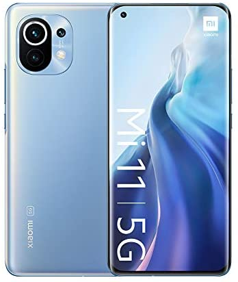 "Xiaomi Mi 11 5G-8 GB+128 GB Smartphone, 6,81"" WQHD+AMOLED DotDisplay-Bildschirm,Snapdragon 888,108 MP+13 MP+5 MP Dreifachkamera,46000 mAh,NFC,Horizon Blue(offizielle Version + 2 Jahre Xiaomi-Garantie)"