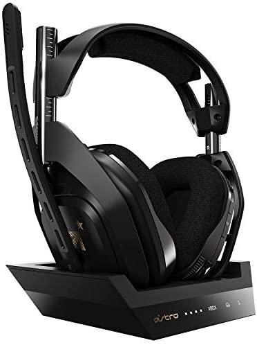 ASTRO Gaming A50, Wireless Gaming-Headset mit Ladestation, Dolby Audio, Game/Voice Balance Control, 2,4 GHz Kabellos, 9m Reichweite, für Xbox Series X|S, Xbox One, PC, Mac; Schwarz/Gold
