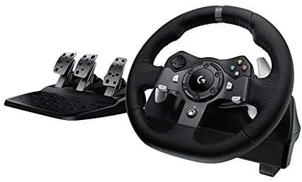 Logitech G920 Driving Force Gaming Rennlenkrad, Zweimotoriges Force Feedback, 900° Lenkbereich, Racing Leder-Lenkrad, Verstellbare Edelstahl Bodenpedale, für Xbox Series X|S, Xbox One, PC - Schwarz