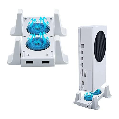 Mcbazel Vertikaler ständer kühlungslüfter für Xbox Serie S, Kühlungsständer mit LED-Anzeige/ zwei USB-Anschlüssen (nur für Xbox Serie S)