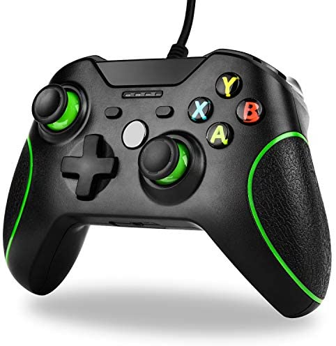 Wired Controller für Xbox One,TechKen Kabelgebundener Xbox One Controller X Box One PC Gamepad mit Dual-Vibration und 3,5mm Headset-Buchse für Xbox One,Xbox One S,Xbox One X,Windows PC (schwarz)