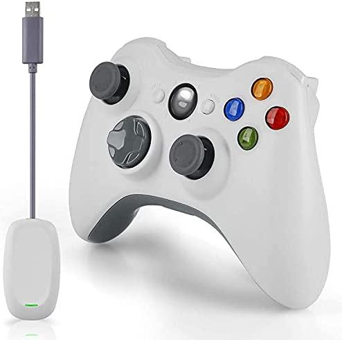Wireless Controller für Xbox 360,2.4GHZ Dual Vibration Remote Gamepad Joystick für Xbox 360 Controller/PC / Windows 7,8,10, mit Receiver Adapter und ohne Audio-Buchse-Weiß (Non-OEM)